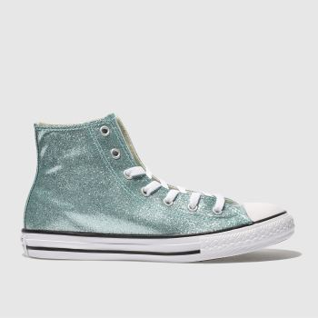 CONVERSE PALE BLUE ALL STAR HI GLITTER TRAINERS YOUTH