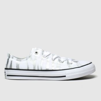 Converse White & Silver All Star Zebra Lo Girls Youth#
