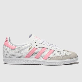 ADIDAS WHITE & PINK SAMBA TRAINERS YOUTH
