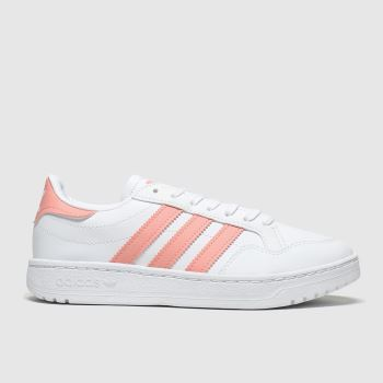 adidas White & Pink Team Court Girls Youth