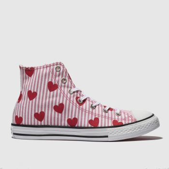 converse white & pink chuck taylor all star hi trainers youth
