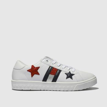Tommy Hilfiger White & Navy Star Lace Up Sneaker Girls Youth