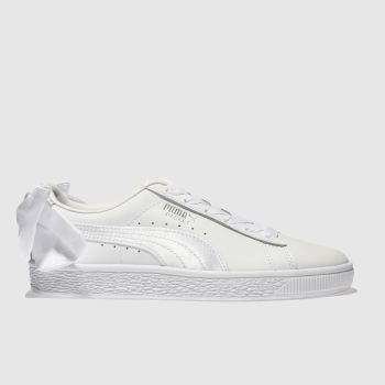 Puma White Basket Bow Girls Youth