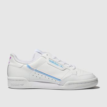 Adidas White & Silver Continental 80 Girls Youth