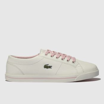 LACOSTE WHITE & PINK RIBERAC TRAINERS YOUTH