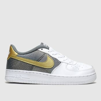 Nike White & grey Air Force 1 c2namevalue::Girls Youth