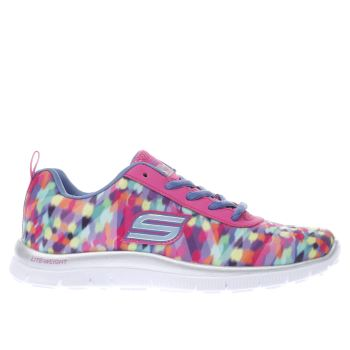 SKECHERS PINK & PURPLE SKECH APPEAL RAINBOW RUNNER GIRLS JUNIOR TRAINERS