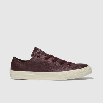 Converse Burgundy All Star Lo Leather Girls Youth