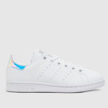 adidas White & Silver Stan Smith Girls Youth