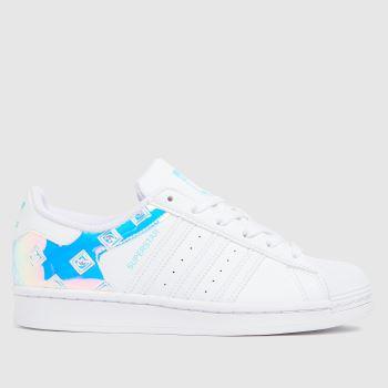 adidas White & Silver Superstar Girls Youth
