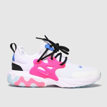 nike white & pink presto react trainers youth