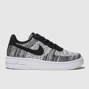 Nike Grey & Black Air Force 1 Flyknit 2.0 Girls Youth