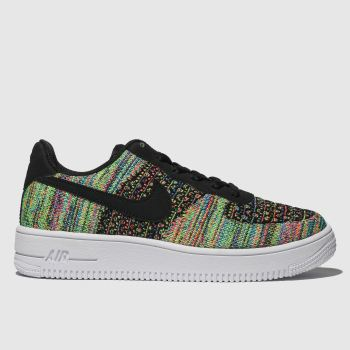nike black & green air force 1 flyknit 2.0 trainers youth