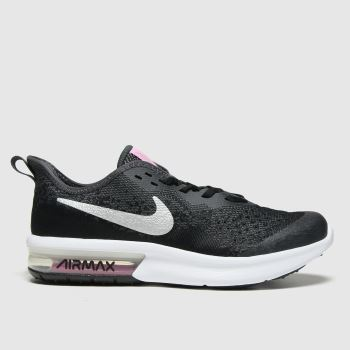 Nike Black & Silver Air Max Sequent 4 Girls Youth