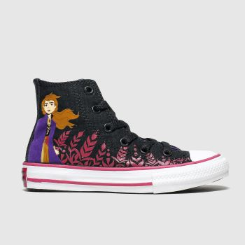 Converse Black & Purple All Star Hi Ii Anna X Frozen Girls Youth