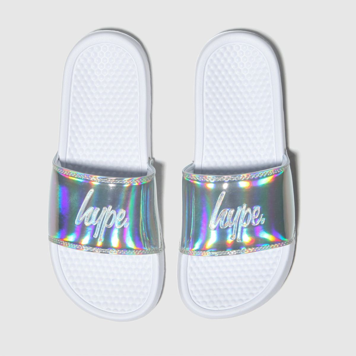 Hype White & Silver Holographic Sliders Sandals Youth