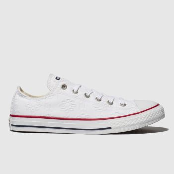 Converse white chuck taylor all star lo trainers youth