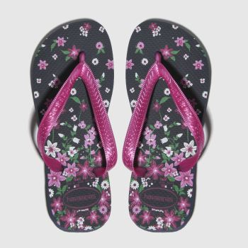 havaianas black & pink kids flores sandals youth