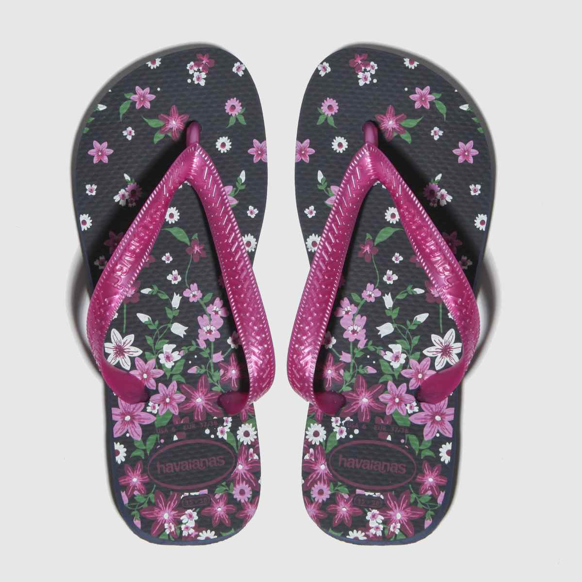 Havaianas Black & Pink Flores Sandals Youth