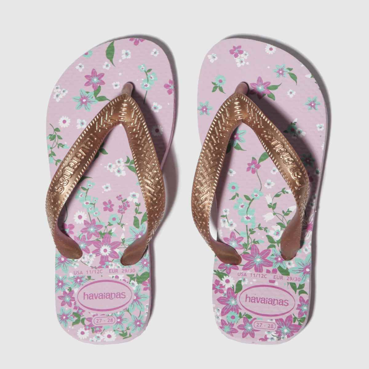 Havaianas Pink & Gold Flores Sandals Youth