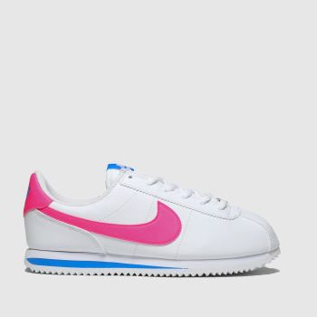 Nike White & Pink Cortez Basic Girls Youth
