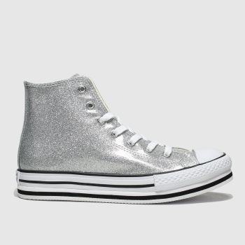 Converse Silver All Star Hi Platform Eva Girls Youth