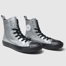 converse silver & black all star x hi trainers youth