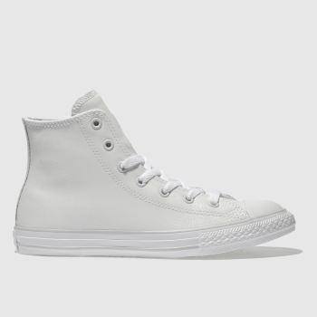 Converse White All Star Hi Leather Girls Youth
