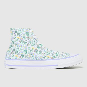 Converse White & Green Hi Ditsy Floral Girls Youth