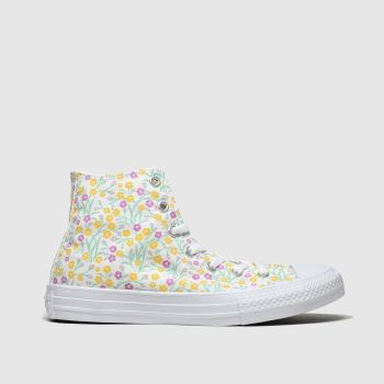 Converse White & Yellow Hi Floral Girls Youth