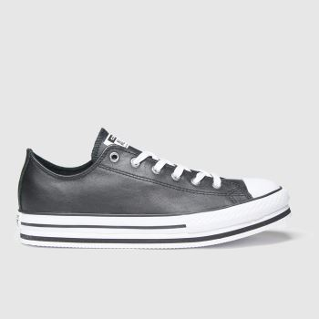 Converse Black & White Lo Platform Eva Girls Youth