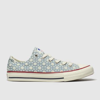 Converse white & blue lo miss chuck trainers youth