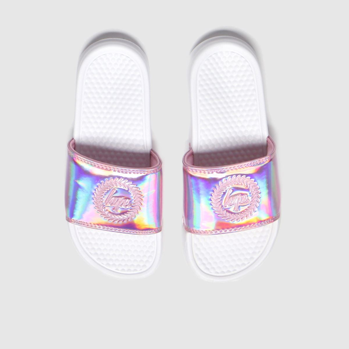 Hype White & Pink Pink Holographic Trainers Youth