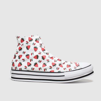 Converse White & Red All Star Hi Platform Fruits Girls Youth