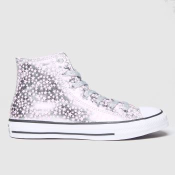 Converse Silver All Star Hi Shes A Star Girls Youth