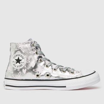 Converse Silver Ctas Hi Stars Girls Youth