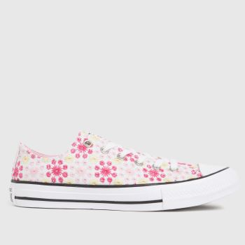 Converse White & Pink Lo Broderie Girls Youth