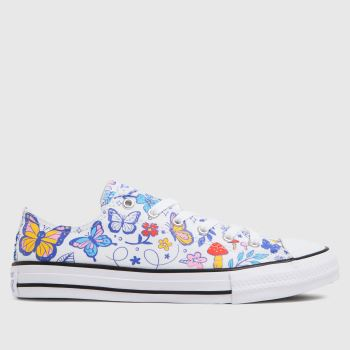 Converse White & Blue Lo Butterfly Fun Girls Youth