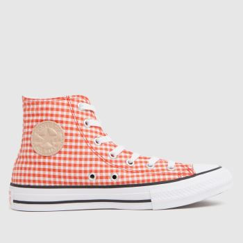 Converse red hi gingham trainers youth