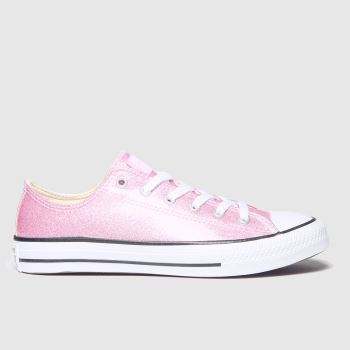 Converse Pale Pink All Star Lo Glitter Girls Youth#