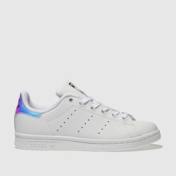 4ac3604cee53 Adidas White   Silver Stan Smith Girls Youth