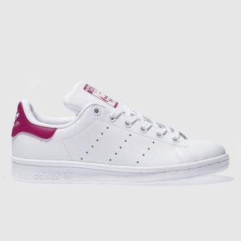 ADIDAS WHITE & PINK STAN SMITH TRAINERS YOUTH