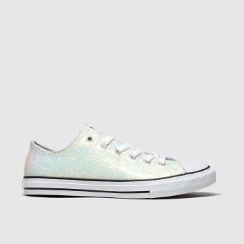 Converse White & Pl Blue All Star Lo Glitter Girls Youth