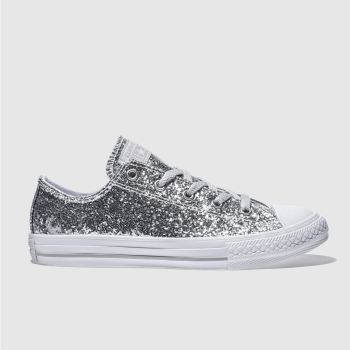 267ae0fc8099 Converse Silver All Star Ox Glitter Girls Youth