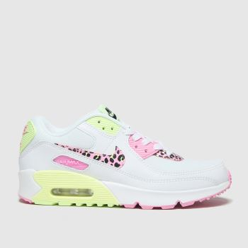 Nike White & Green Air Max 90 Girls Youth