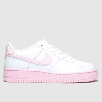Nike White & Pink Air Force 1 Girls Youth