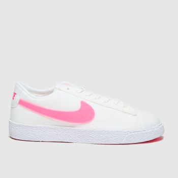 Nike White & Pink Blazer Low Girls Youth