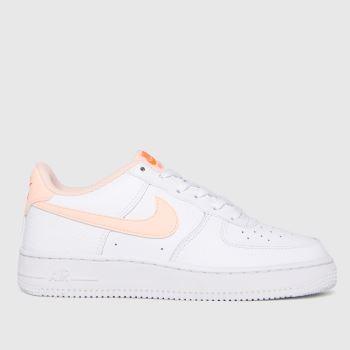 Nike White & Orange Air Force 1 Girls Youth