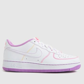 Nike White & Purple Air Force 1 Girls Youth
