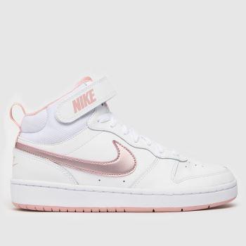 Nike Weiß-Pink Court Borough Mid 2 MädchenJugendliche
